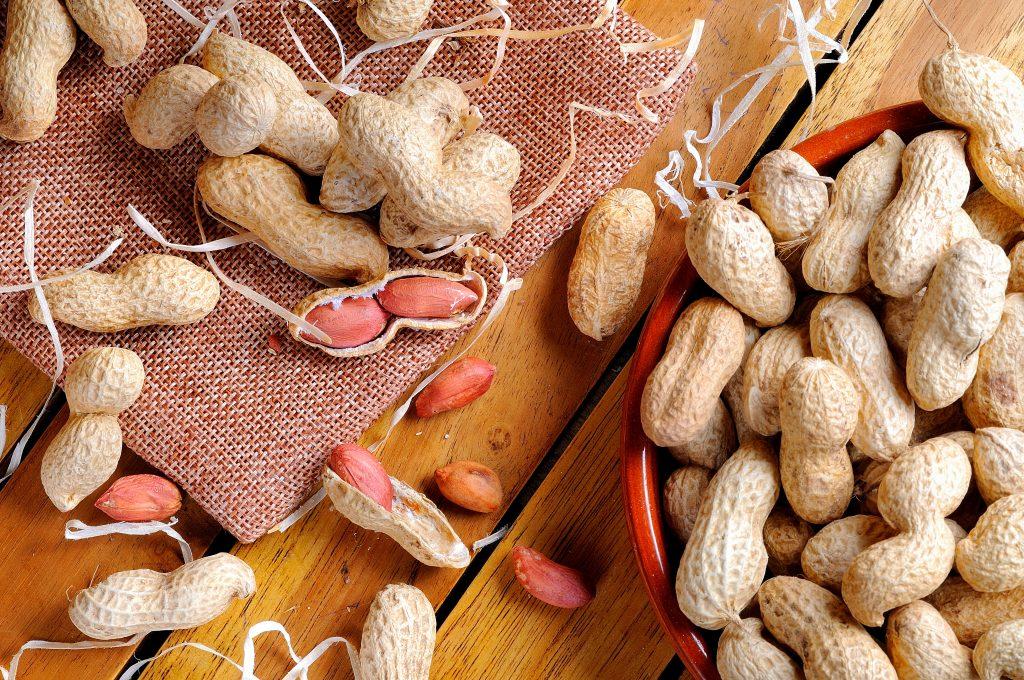 amendoins em cima da mesa com e sem casca