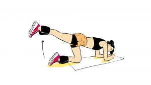 Ilustração de exercício de glúteos quatro apoios 180