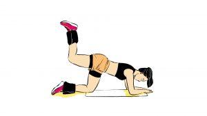 Ilustração de exercício de glúteo quatro apoios